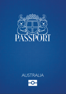 Teddy Bear Passport Australia Blue