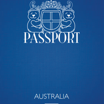 Teddy Bear Passport Australia Blue