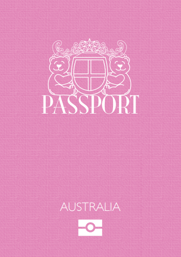 Teddy Bear Passport Australia Pink